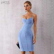 Adyce 2019 New Summer Bodycon Bandage Dress Women Sexy Blue Spaghetti Strap Vestido Strapless Midi Celebrity Evening Party Dress