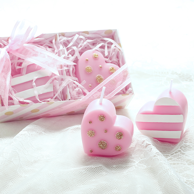 Cakes Favours Guest Books: Pink Heart Shaped Candle In Gift Box Wedding Party Favor