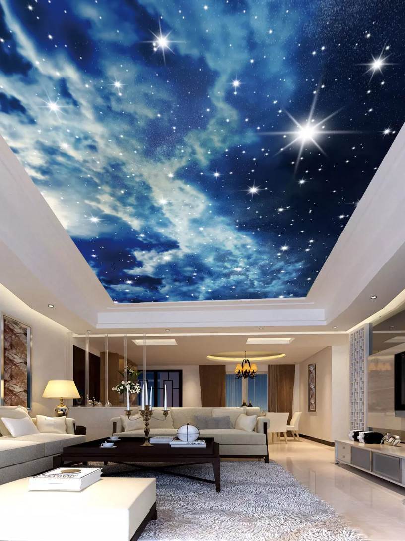 Custom 3D Ceiling Mural Wallpaper European Style blue sky star curtains for Living Room Bedroom in Wallpapers from Home Improvement