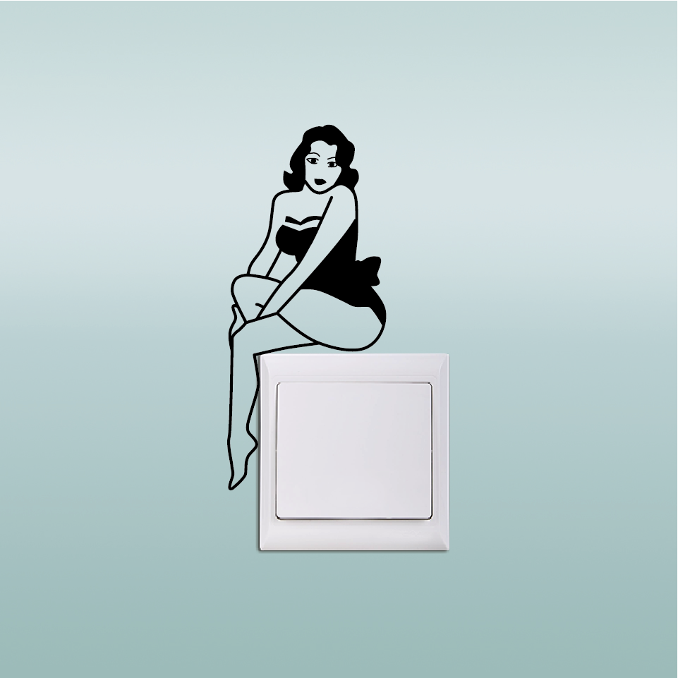 Kg 275 Sexy Pin Up Girl Light Switch Sticker Creative Vinyl Wall
