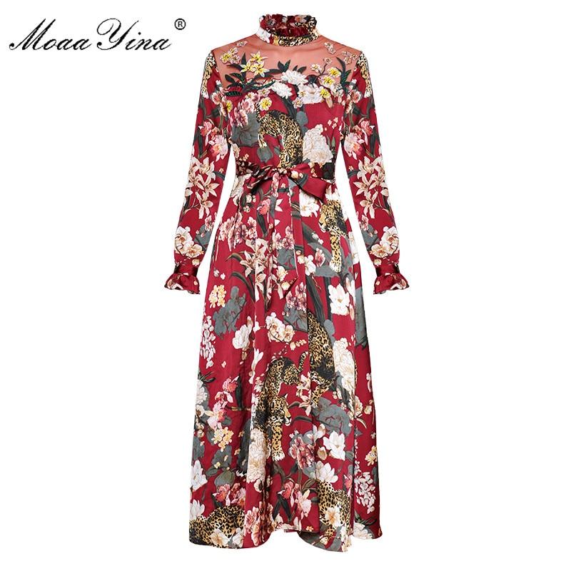 MoaaYina Animal Floral Print Stand collar Long sleeve Mesh Embroidery Diamond Slim Lace up Midi Dress