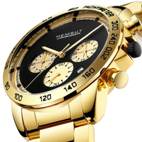 Relogio Dourado Masculino Dropshipping Men Watch Chronograph Business Quartz Watches Gold Wristwatches Analog Clock With box