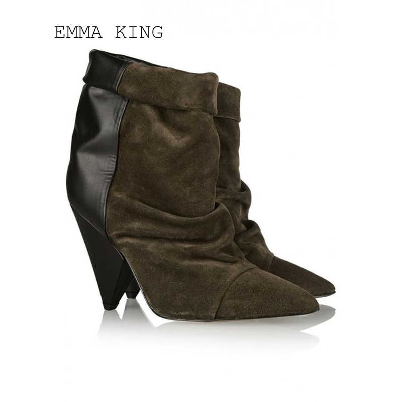 75ef1dc633a0d Detail Feedback Questions about High Heel Winter Women's Boots Triangle  With Cashmere Hollow Exposed Adhesive Pointed Pleated Hollow Shoes Stage  Performance ...