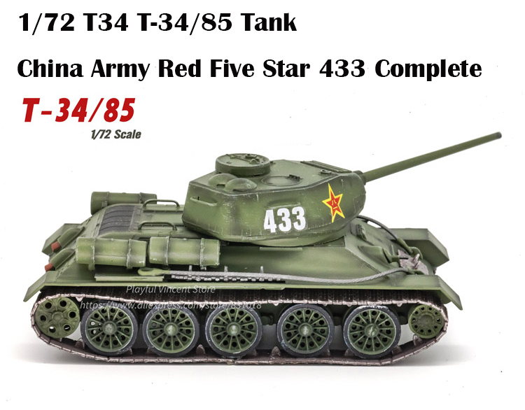 1/72 T34 T-34/85 Tank  China Army Red Five Star 433 Complete  Collection Tank