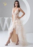 Jeanne Amor Vestidos de Casamento 2018 Da Forma Da Senhora Perna Aberta Sexy Transparente Lace Low-Cut Vestido Backless Robe De Mariage JLOV75960