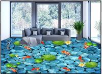 Custon 3d wallpaper 3d flooring wallpaper 3d super clear floor painting moonlight lotus nine fish figure bedroom home decoration