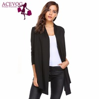 ACEVOG Women S Open Front Long Sleeve Solid Knit Thin Cardigans Spring Autumn Ladies Sweaters Fashion
