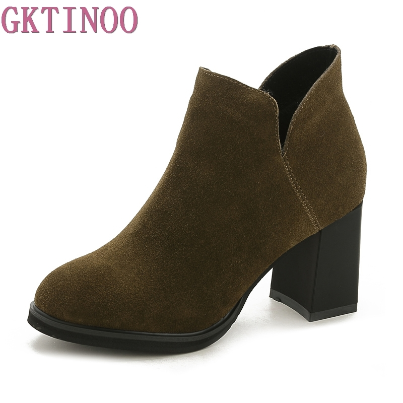 GKTINOO Genuine Leather Shoes Women Ankle Boots Autumn Thick High Heel Martin Boots Zip Winter Handmade Shoes Boot Suede 2018 high quality handmade thick heel women shoes genuine leather women boots martins winter vintage ankle boots botas mujer