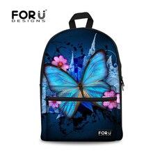 Forudesigns Дамы Бабочка печать рюкзак животное детей школьного рюкзака для подростков Повседневная Женская Детский Рюкзак Mochila