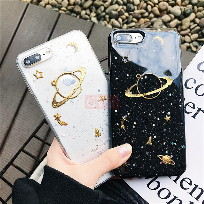 GVU Luxury Phone Case For iphone X 8 7 6 Plus 10 Planet Glitter TPU Cover Case For iphone X 6 7 8 Silicone Back protection Shell