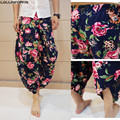 Men Floral Wide Leg Linen Pants Drop Crotch Harem Pants Linen & Cotton National Style Flowers Printed Casual Pants Free Shipping