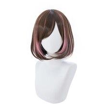 цена на Brdwn Kizuna AI Womens AI Channel 35cm/13.8 Short Brown with Rose Pink Straight Cosplay Hairwear