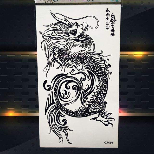 be0d51bb1 Chinese Dragon Myth Totem Black Temporary Tattoo Stickers Women Men Body  Art Arm Shoulder Tattoo Waterproof Henna Tatoo