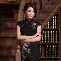 Siyah Cheongsam Nakış Çiçekler Çince Geleneksel Qipao Zarif Kadın Örgün Parti Oriental Elbiseler Tangsuit Plaka Düğmeleri