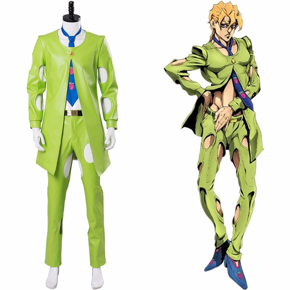 JoJo's Bizarre Adventure Cosplay Golden Wind Pannacotta Fugo Costume Green Suit Uniform Halloween Carnival Costume Customizable