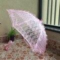 Super Deal!!! Nobre e Elegante Longo Braço Borda Flor do Laço Rosa Casamento Nupcial do Guarda-chuva/Foto Adereços Decorativos 940A