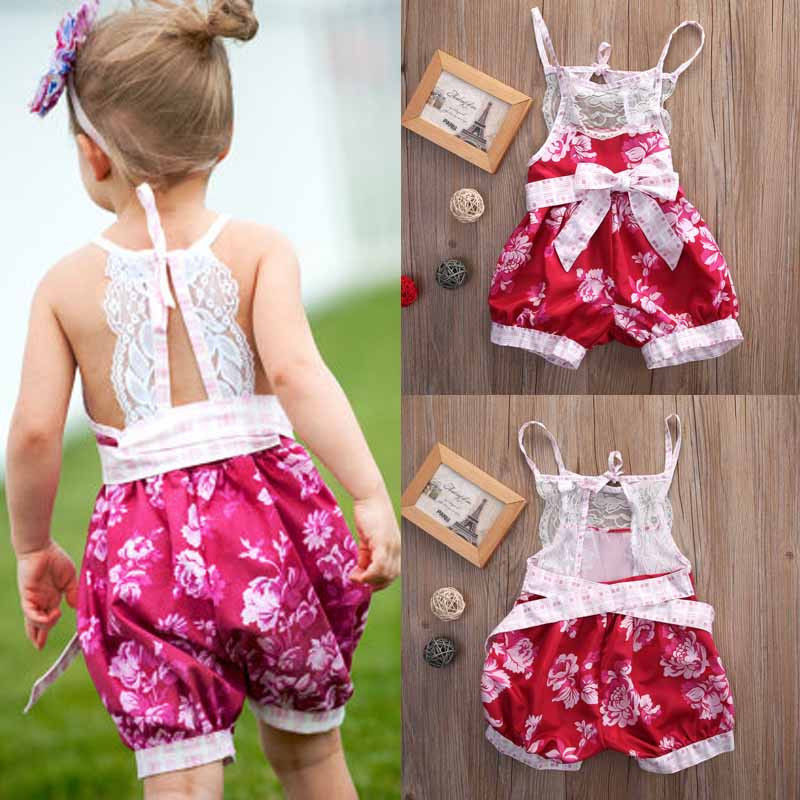Infant Kids Baby Girl Clothing Floral Romper Jumpsuit Strap Lace Bow Sleeveless Newborn Girls Clothes newborn infant baby girl clothes strap lace floral romper jumpsuit outfit summer cotton backless one pieces outfit baby onesie