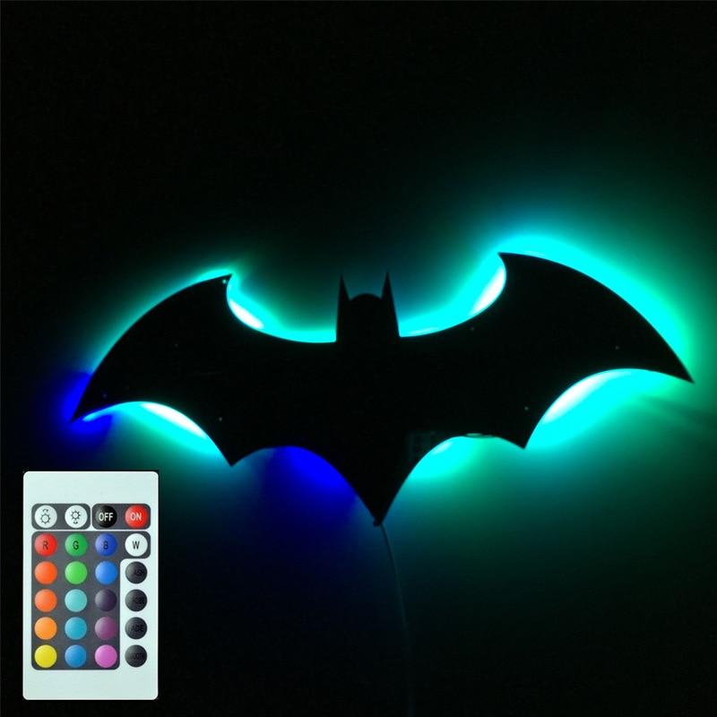 USB Питание 7 цветов зеркало светодиодный 3D Бэтмен Дистанционное Управление светодиодный Ночной светильник украшения дома ночника подарки для детей