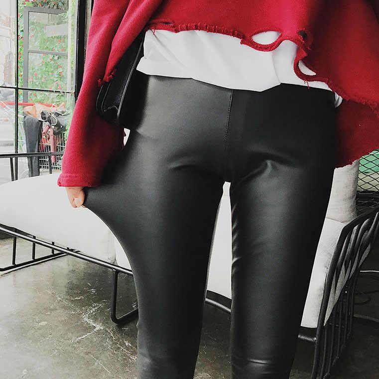 Moda Feminina Leggings Cintura Elástica Calças De Couro PU Fêmea Magro Hip Sexy Calças Push Up Preto Sexy Casual Skinny Lápis pant