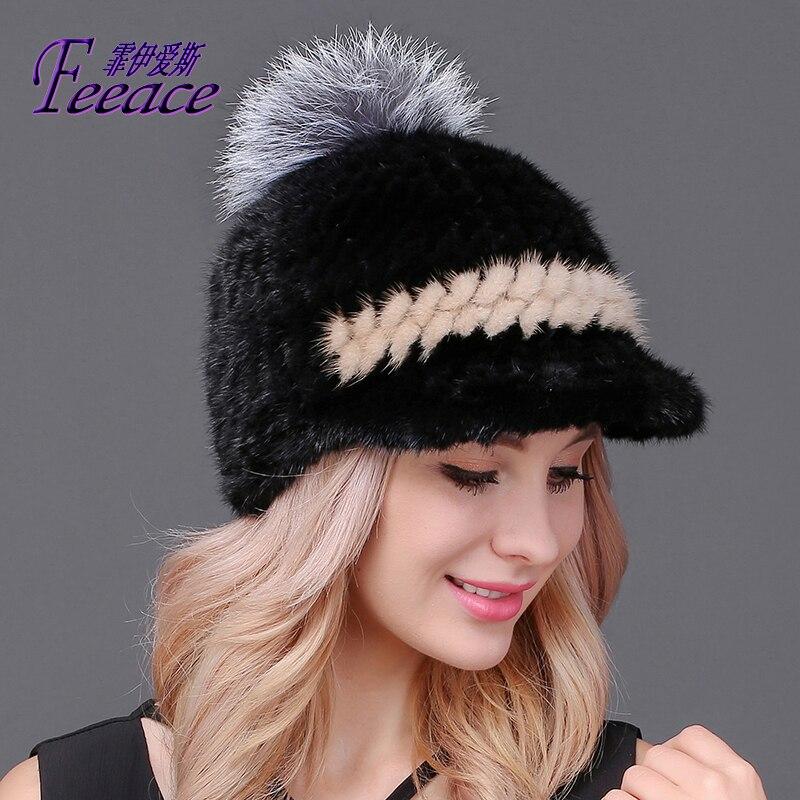 FEEACE visières chapeau d'hiver chaud, vison casquette, vison vison chapeaux, chapeaux de mode, tricoté à la main chapeau, oreille casquette FPC-625