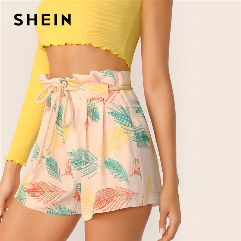 SHEIN Leaves Print Paperbag Waist   Shorts   Women Boho Beach Vacation High Waist   Shorts   Casual Button Fly Regular Summer   Shorts