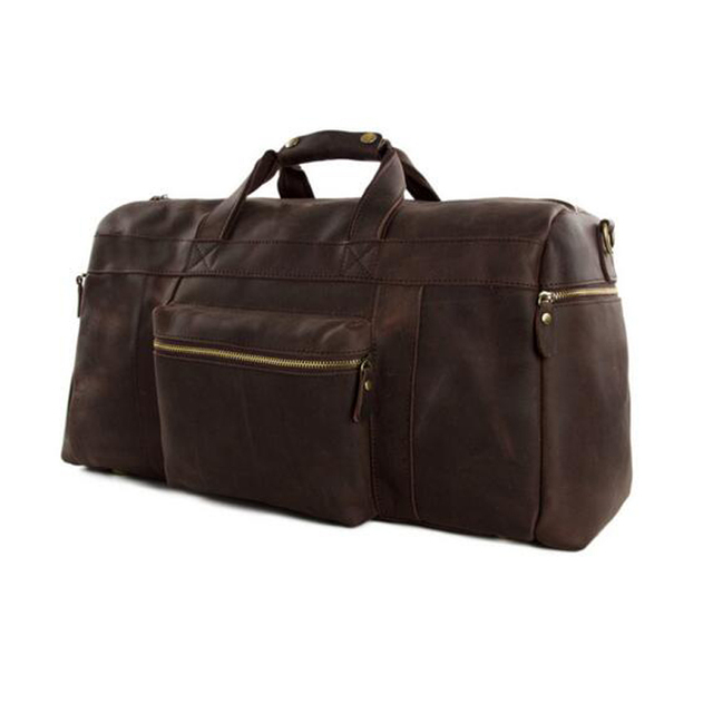 "ROCKCOW Vintage Genuine Leather Cowhide 23"" Large Capacity Travel Luggage Men Duffle Bags 1098"