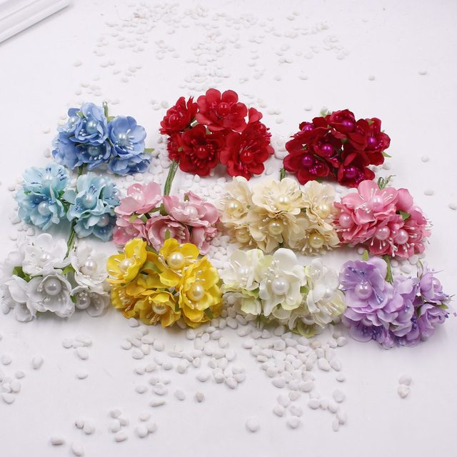 6pcs Lot Artificial Small Fabric Rosesilk Cherry Blossom Branches With Big Pearl Stamens