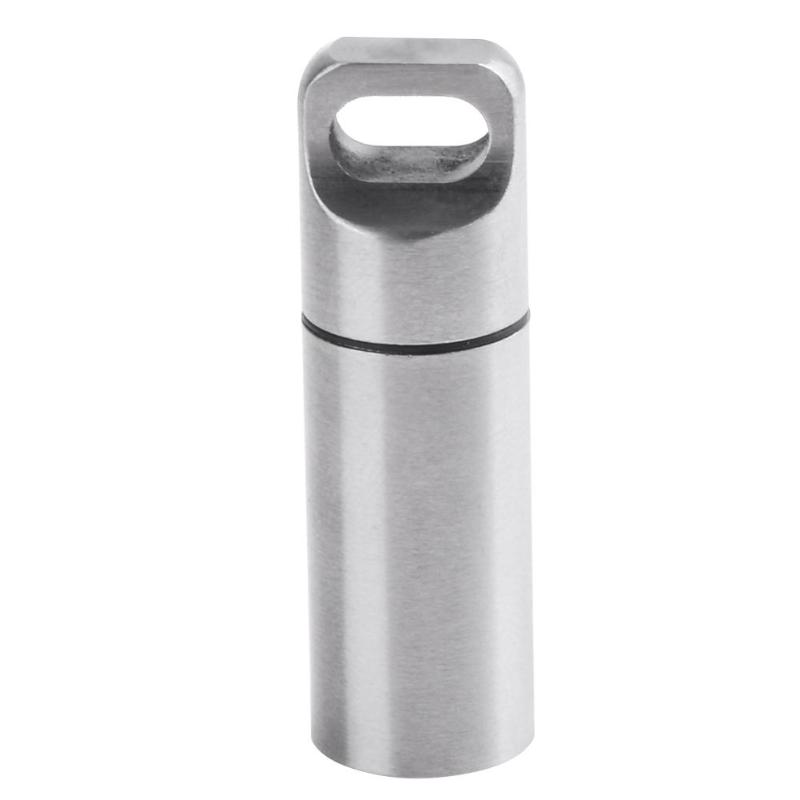 Mini Stainless Steel Waterproof Capsule Seal Bottle Outdoor EDC Survival Pill Box Container Capsule Pill Bottle Tank Case