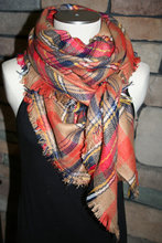 Plaid Tartan Blanket Scarf Fall Orange Plaid Scarf Christmas Gift Scarves Za Style Plaid 2014 Bloggers Favorite