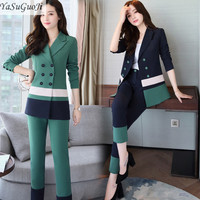 New 2018 spring office lady style fashion green and blue contrast color slim fit double breasted suit women tailleur femme TXF4