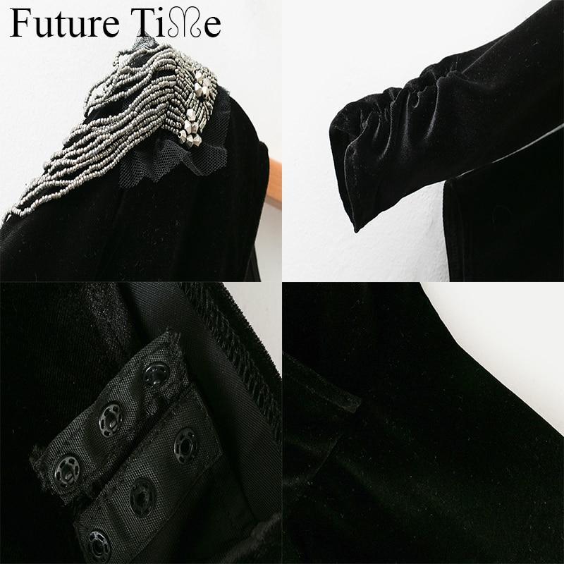 Future Time Women Long Sleeve V-Neck Sexy Casual Beading Solid Black Blouse Autumn Female Fashion Shirt Feminine Top SC930