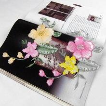 Alta calidad Magnolia 6 unids/lote 13 * 22 cmembroidery parches para la ropa, parches bordados coser en remiendos del bordado para ropa