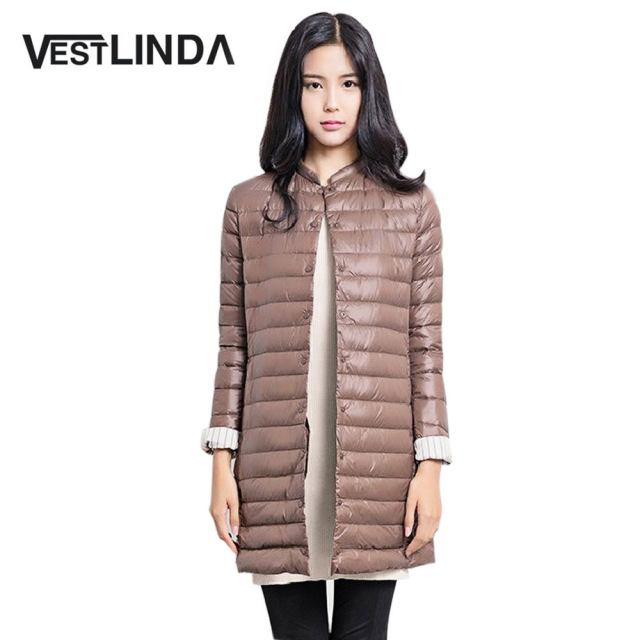 VESTLINDA 2016 Hot Sale Casual Coat Parkas for Women Winter Female Snow Warm Jacket Long Thin Duck Down Coat for Laides