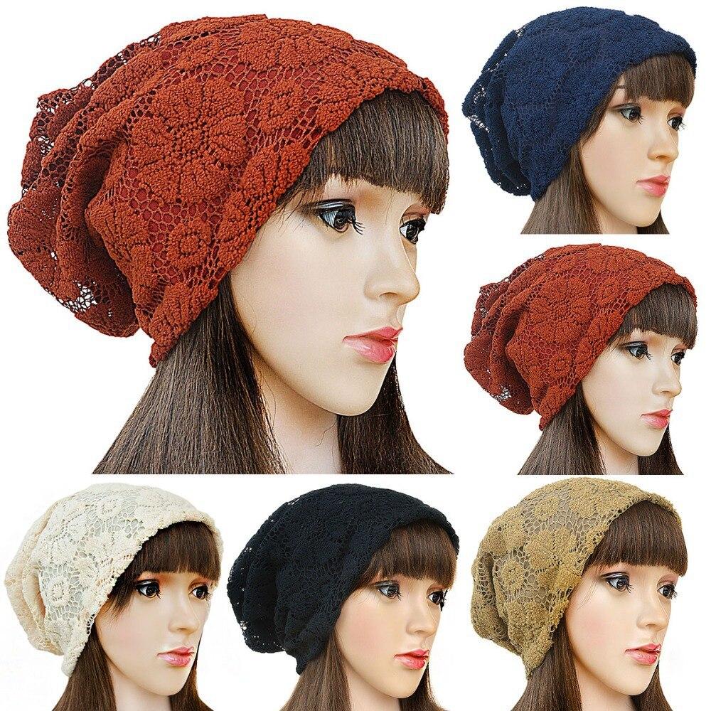 Autumn Winter Beanies Hats Women Lace beanies Hats girls Warm Baggy Hats Slouchy Oversized Casual Cap A239