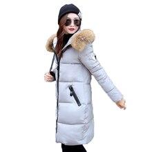 Женская зимняя куртка, средней длины Тонкий большой волосы воротник капюшоном зима теплая Полиэстер Вата хлопчатобумажная куртка женская куртка