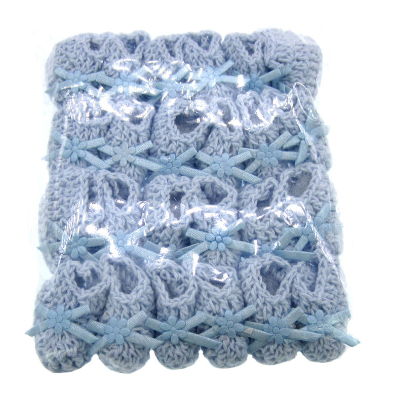 12pairs Handmade miniature crochet booties For baby shower favors baptism party decorations 25 x 40mm in Fabric from Home Garden
