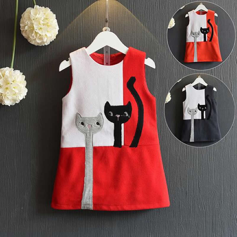 Girls Costume Clothes New children Dresses Cat print High Quality Kids Dress Sleeveless Vest Costume For Kids Dress Girl  high quality casual cotton striped dress for girls teenagers kids summer sleeveless soft vest vestidos children costume