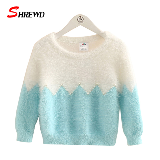 Niñas Niños suéter 2017 Nuevo Otoño Moda Suéter Abalorios Color Del Encanto de Manga Larga Para Niñas Ropa Linda Niña 4528Z