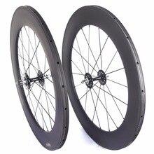 Fixed gear ruote in carbonio flip flop della pista del carbonio wheelset 82 millimetri di profondità 23 millimetri di larghezza tubolare ruote copertoncino ruote a velocità singola