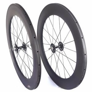Image 1 - fixed gear carbon wheels flipflop carbon track wheelset  82mm depth 23mm width tubular wheels clincher single speed wheels