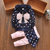 Heat 2016 New Spring Autumn Suits Baby Girls Dress Suits Cotton Children S Clothes Bow Jacket