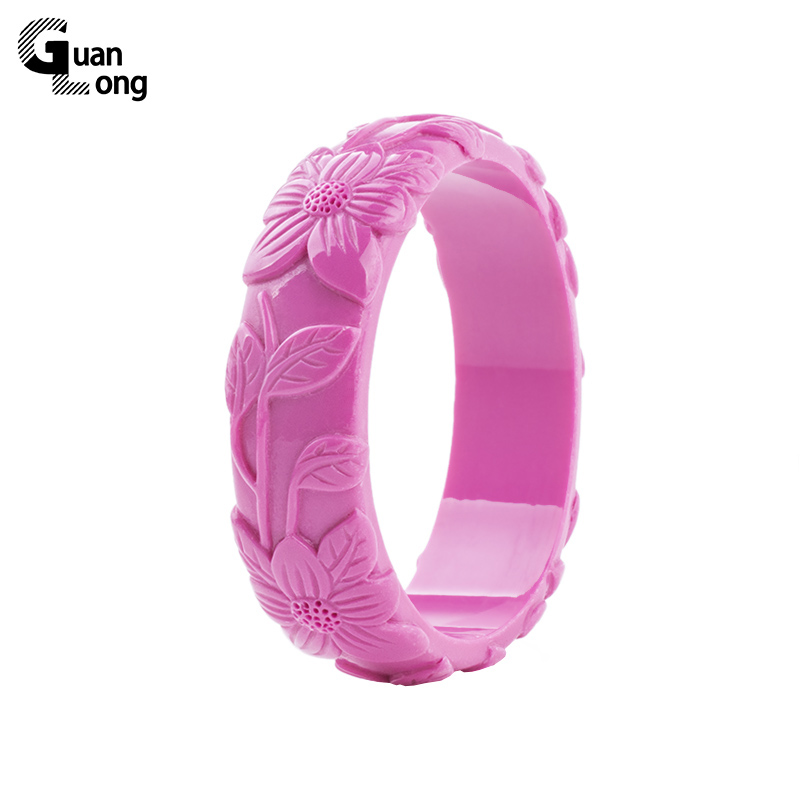 GuanLong Romantic Floral Carved Leaf Resin Bangles Bracelets For Women Gift Puseira Jewelry Wholesale 11 Colors