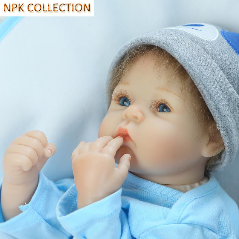 NPK COLLECTION Silicone Reborn Babies Bonecas Toys for Kids Girls Gifts,18 Inch Real Silicone Doll Baby Alive Dolls Blue Eyes stuffed toys about 55cm npk bonecas silicone reborn baby dolls safe and big eyes for 22inch soft vinyl alive baby toy for girls