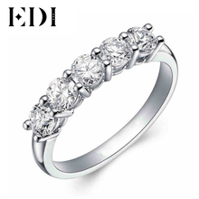 EDI 5 Stone Diamond Wedding Ring 9K Solid White Gold Round Simulated Diamond Engagement Wedding Matching Band For Women Classic