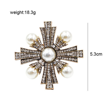 Vintage Gold Color Rhinestone and Pearl Cross Brooches 1