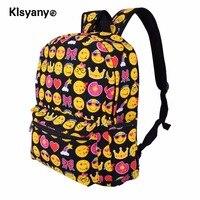 Klsyayo 12.2x6.7x15.7 inch Unisex Lightweight Children Students Canvas Cute Emoji Backpack Smile Face Satchel School Bookbag