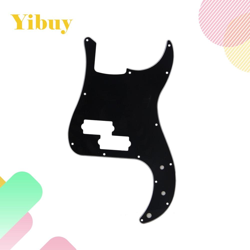 Yibuy Black 3 Ply 13 Holes PVC P Bass Pickguard Scratch Plate Electric Bass Guitar