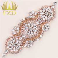(1piece)Handmade Beaded Hot Fix Sliver Clear Bling Sew On Bridal Rhinestone Crystal Appliques Patch for Wedding Dresses DIY Belt