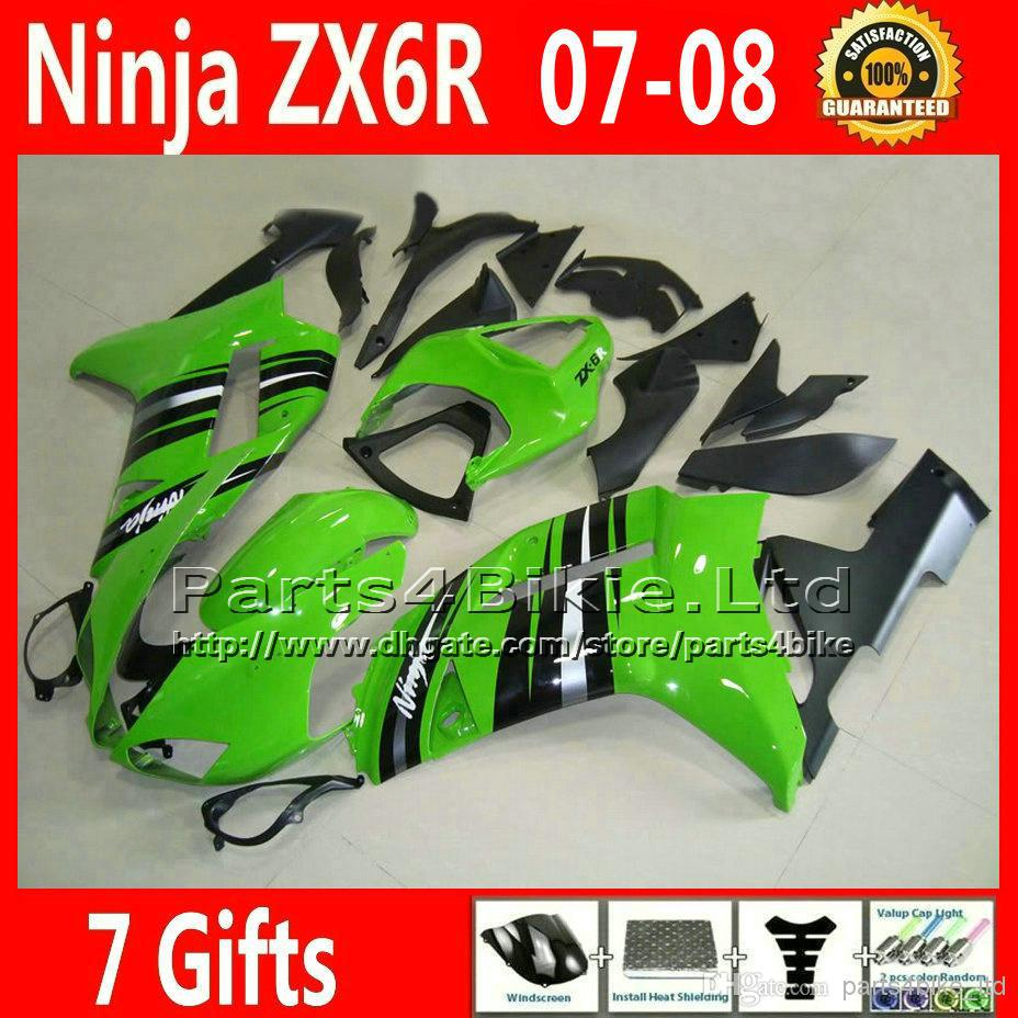 7 Gifts motorcycle fairings for Kawasaki  ZX6R 636 ZX 6R green black ABS fairing body kits  07 08   2007 2008 DF16 injection molding aftermarket set for kawasaki zx 6r 07 08 green black fairings ninja 636 zx6r 2007 2008 fairing kit ye16