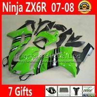 7 Gifts motorcycle fairings for Kawasaki ZX6R 636 ZX 6R green black ABS fairing body kits 07 08 2007 2008 DF16